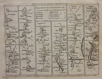 Original antique map DEVON, EXETER, BIDEFORD, DORSET, LYME REGIS,  Jefferys 1775