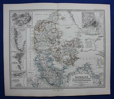 DENMARK, ICELAND, GREENLAND, FAROES, original antique map, Stieler 1880