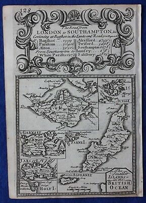 Original antique map, BRITISH ISLANDS, WIGHT, JERSEY, MAN, SCILLY, Bowen, c.1724