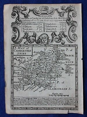 Original antique county map, WALES, CARMARTHENSHIRE, Emanuel Bowen, c.1724