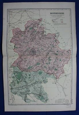 Original antique map BEDFORDSHIRE, BEDFORD, RAILWAYS, G.W. Bacon, 1896