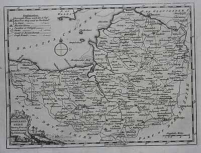 Original antique map ENGLAND, SOMERSETSHIRE, SOMERSET, Thomas Kitchin, 1769