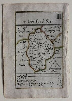 RARE antique map BEDFORDSHIRE, PLAYING CARD MAP, Morden, published c.1680-1773
