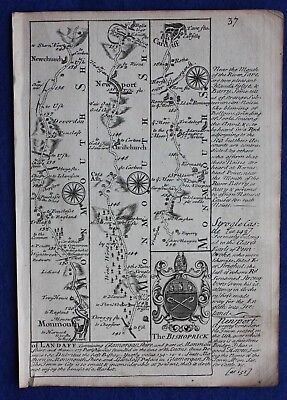 Original antique road map MONMOUTHSHIRE, GLAMORGANSHIRE, CARDIFF, E Bowen,c.1724