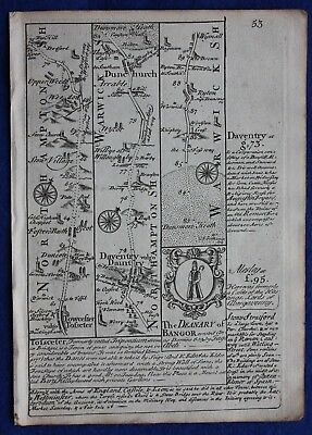 Original antique road map NORTHAMPTONSHIRE, WARWICKSHIRE, E. Bowen, c.1724