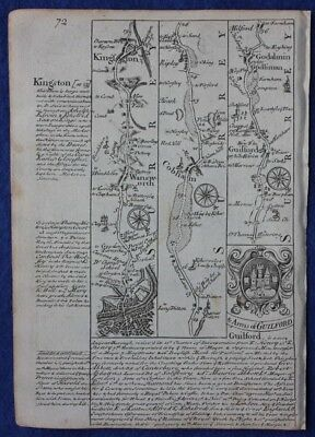 Original antique road map SURREY, COBHAM, GUILFORD, GODALMING, E. Bowen, c.1724