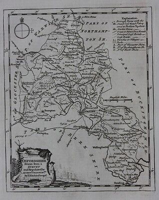 Original antique map ENGLAND, OXFORDSHIRE, OXFORD, Thomas Kitchin, 1769