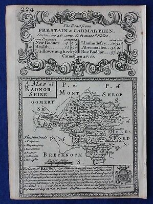 Original antique county map, WALES, RADNORSHIRE, Emanuel Bowen, c.1724