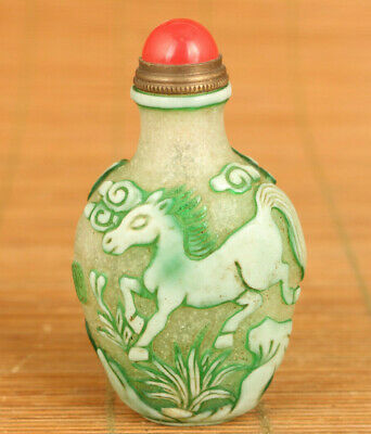 Rare chinese old glaze Handcarved horse statue noble snuff bottle decoration