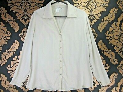 VINTAGE RETRO LIGHT BROWN SILK BUTTON UP LONG SLEEVE BLOUSE LARGE U.K16 st593