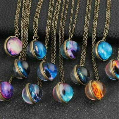 Glow in the Dark Solar System Pendant Planet Necklace Galaxy Double Sided Glass