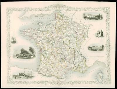 """1850 - Original Antique Illustrated Map of """"FRANCE""""  by Tallis (97d)"""