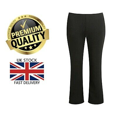 New Girls Pull Up Finely Ribbed Elasticated Waist Stretch Pant School Trousers