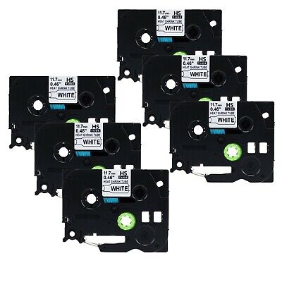 6x Heat Shrink Tube Label HSE231 for Brother P-Touch PT-P750WVP P950NW P900 12mm