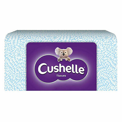 Cushelle 8 Pack of 80 Facial Tissues 4-Ply Soft Strong - Total 640 Tissues