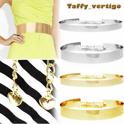 Women Gold / Silver Full Metal Waist Plate Chains Waistband Metallic Belt Bhbk