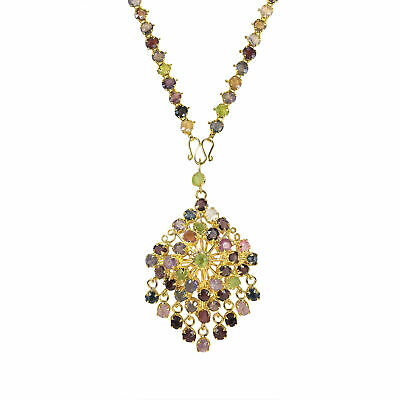 Two In One Thai Traditional Nine-Gem Gold Vermeil Pin/Necklace