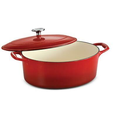TRAMONTINA 5.5 Qt. Dutch Oven Oval Porcelain Enameled Cast Iron with Lid, Red