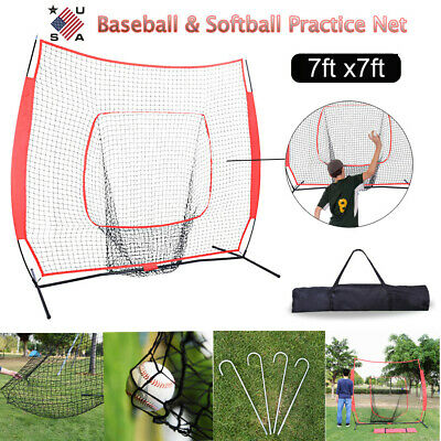 Foldable Rubber Feet 7x7 FT Baseball Net Softball Practice Pitching Training Aid