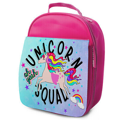 Unicorn Squad Lunch Bag School Childrens Girls Insulated Pink Cute Gift KS32