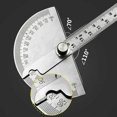 Stainless Steel Round Head Rotary Protractor Angle Measuring Ruler 180 Degree zx