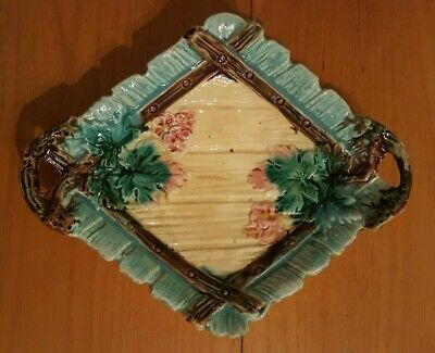 Rare Antique Vintage Majolica Strawberry Server Platter Dish Old Collectable