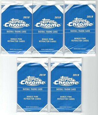 x5 Factory Sealed Packs 2019 Topps Chrome PINK REFRACTOR cards Tatis Vlad Alonso