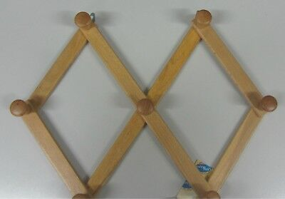 Stick Cloths Hanger a Wall Wooden Natural Extendable 7 Places New