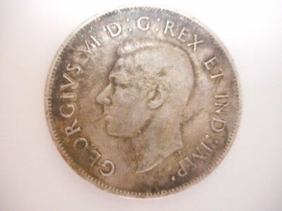 1943  CANADA 50 Cents. Fifty Cents . Half Dollar.  Silver Coin