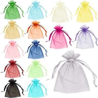 25 Organza Bags Jewellery Pouches Wedding Favour Party Mesh Drawstring Gift Cake