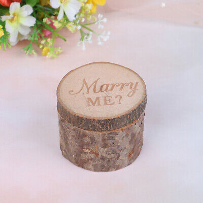 Rustic Wedding Ring Box Holder Natural Wooden Vintage Decor Anniversary Gi~GN