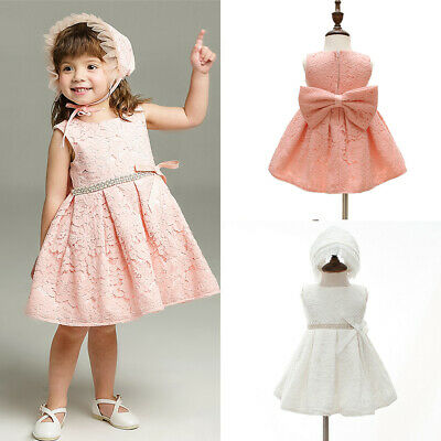 Toddler Baby Girls Lace Princess Dress +Hat Wedding Party Infant Bowknot Gowns