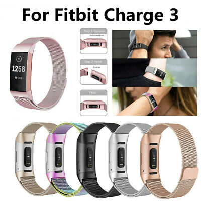 Watch Strap Wrist Band Milanese Stainless Steel Magnetic For Fitbit Charge 3 S/L