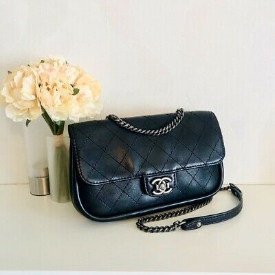 VERIFIED Authentic RARE Chanel Black Quilted Leather Crossbody Medium Flap Bag