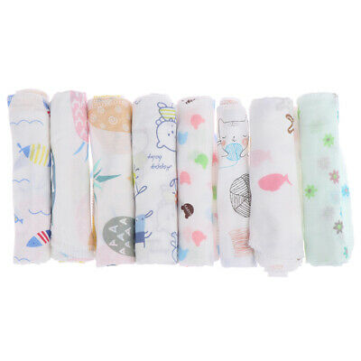Cartoon baby handkerchief square pattern towel washed cotton infant face to~GN