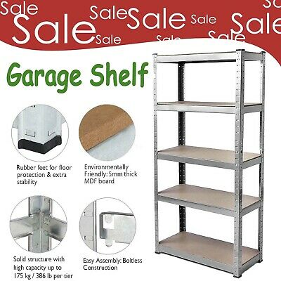 Metal 5 Tier Heavy Duty Shelving Racking Steel & Mdf Industrial Garage Shelf