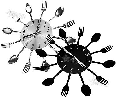 Metal Kitchen Wall Clock Spoon Fork Creative Quartz Wall Mounted Clocks Modern
