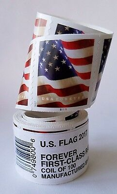 200 (2 roll of 100) USPS FOREVER STAMPS US FLAG COIL FIRST CLASS POSTAGE