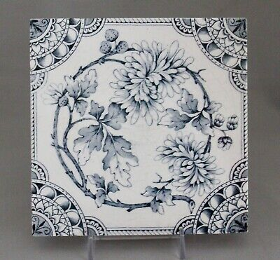 "Antique English 6"" Tile Victorian Blue Floral Aesthetic Transfer Printed"