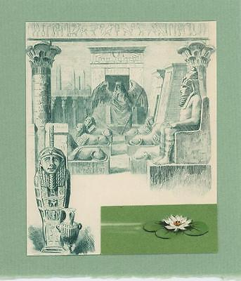 Antique Vintage Egyptian Angel Sphinx Tomb Lotus Flower Collage Old Art Print