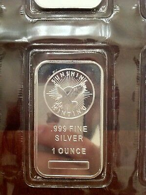 1 Troy Ounce Sunshine Minting Silver Bar 1 oz .999 Fine Silver - Factory Sealed