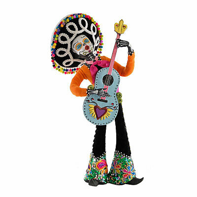 "17"" Day of the Dead Sugar Skull Guitar Player Dia De Los Muertos Mariachi Doll"