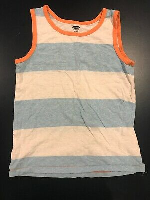 Old Navy Toddler Boys Striped Tank Top White Blue 5T
