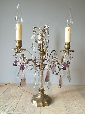 French 3 Arm Gilded Brass Crystal Candelabra; Rewired and PAT tested