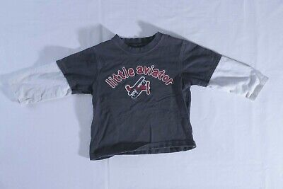 Gymboree Boys Little Aviator Long Sleeve T Shirt   Size 2T   Navy Blue  White