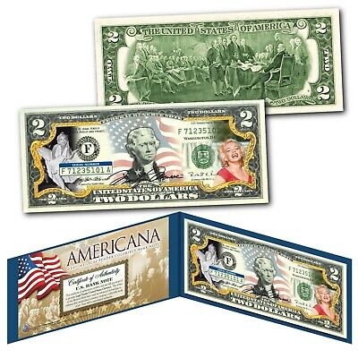 2-Sided * Declaration of Independence Official Legal Tender U.S $1 Bill w//COA