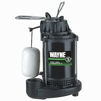 WAYNE WATER SYSTEMS Submersible Sump Pump With Vertical Switch, Cast Iron , 1/3-