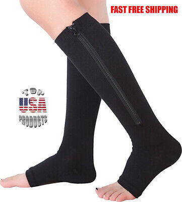Open Toe Zippered Compression Socks Support Stockings Leg Calf Men Women (S-XXL)