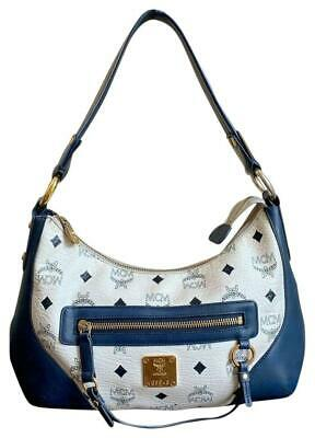 Authentic MCM Visetos White Navy Coated Canvas Leather Small Shoulder Hobo Bag