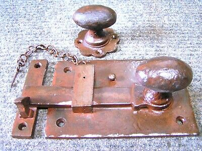 Rustic Mission style Door Knob Gate Latch, Hammered Iron Rust finish, RIGHT Hand